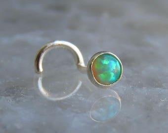 nose stud 18g - gemstone nose stud - green opal nose stud - nose stud silver