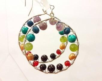 Big Multi Colored Hoop Earrings, Rainbow, Chakra, Colorful Gemstone Earrings for Gypsy, Boho or Yoga Style