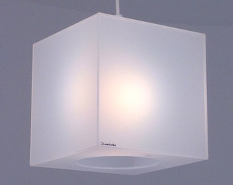 Cube lamp shade in translucent white Perspex | Plexiglass | Lucite | Acrylic | white cube light | Lumicube frost