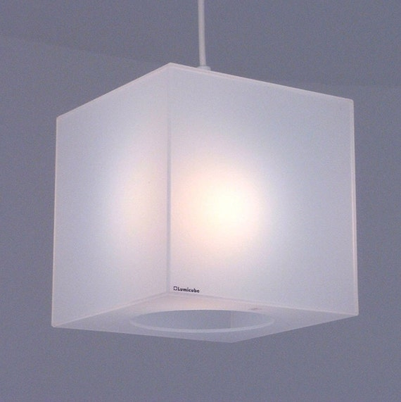 Cube lamp shade in translucent white perspex plexiglass aloadofball Choice Image