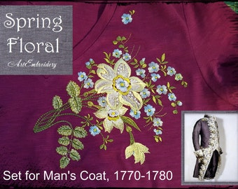 Spring Floral - Embroidery Designs Set for Man's Coat, 1770-1780 for hoop 6x8