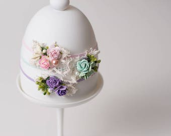 Spring Lace Newborn Headband Set, newborn headband set, Photography prop