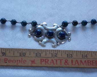 Sterling Silver and Blue Beaded Necklace.  (711)