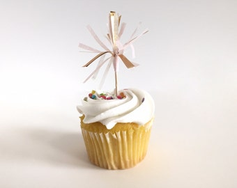 Blush, White & Gold Cupcake Toppers / Cake Toppers / Tissue Tassel / Set of 12 / Handmade / Bridal Shower, Baby Shower, etc.