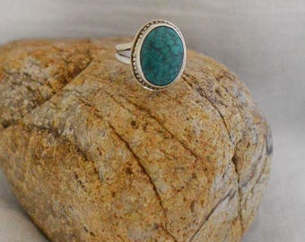 Green Chrysocolla & Fine Silver Ring, Size 6 1/4