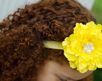 Bright Sunny Yellow Silk Peony Flower Headband - Baby - Newborn - Infant - Toddler - Girl - Photo Prop