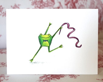 Ribbon Twirling Frog Card