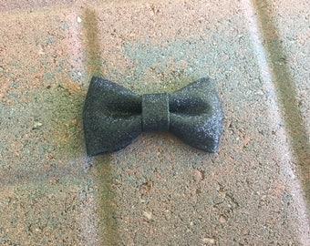 Black Glitter Classic Boutique Bow, Hair Bow, Hair Accessories, Girls, Toddlers, Babies, Photo, Hair Clip, Glitter, Holiday