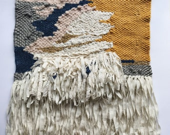 Handmade Woven Wall Hanging // Abstract-Pink-Mustard-Calico-Blue-Gold // Fiber Art Textile theabstractdaily