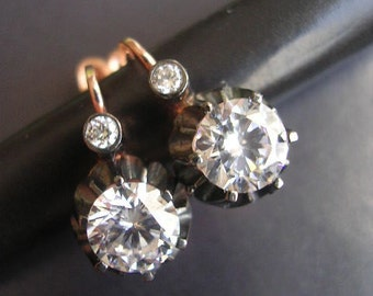 FREE SHIPPING Stud Earring  rose gold antique mid century antique diamond  inspired sterling