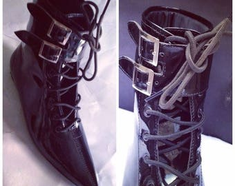 Goth Pikes  Lace-up Shoes Winklepickers boots Gothic Batcave WGT Siouxsie 80s  vintage pointy leather, Vegan