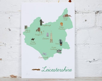Illustrated Map of Leicestershire Digital Print A4/A3