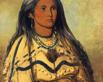 George Catlin: The Indian Gallery - Sha-ko-ka, Mint, A Pretty Girl, 1832. Fine Art Print.
