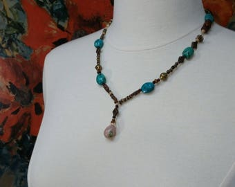 Pink Aventurine pendant with Turquoise, copper and wood beads