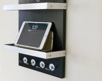 CHARGING STATION DOCK: For Him, Black Modern Wall Mount iPad Docking Unit with Key Hooks and 2 Shelves, Wood with Metal Details Man Cave
