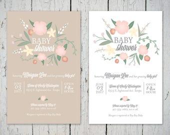 Floral Baby Shower Invitation - Digital File