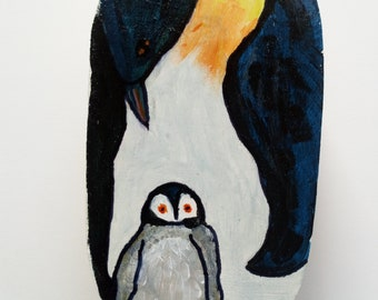Small wooden box hand painted with penguins on lid