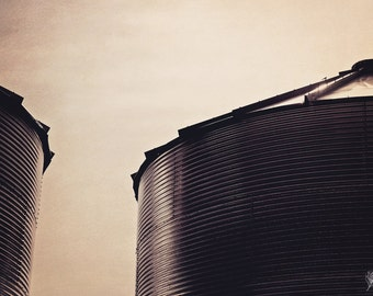 Siloence, silos, grain silo, farm photo, sepia, fine art print, wall art, photo, photograph