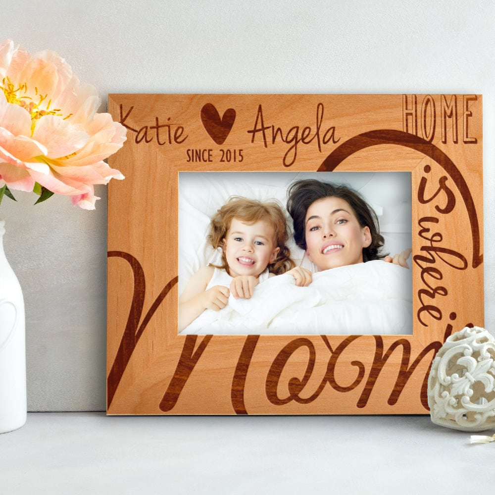 Personalized Home Is Where Mom Photo Frame Custom Engraved Frame