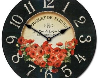 Bouquet de Fleurs Poppies Wall Clock