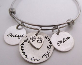 Pets Memorial Bracelet Gift - Forever in my Heart Bracelet - Dog Remembrance for two dogs - Pet Loss