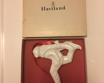 Vintage Haviland Limoges Ornament Boy Ice Skater 1981 Porcelain Christmas