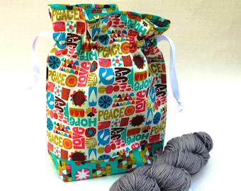 Knitting Project Bag, Medium Drawstring, 60s Love and Peace Mod vintage fabric hippie pink teal turquoise. Gift idea.