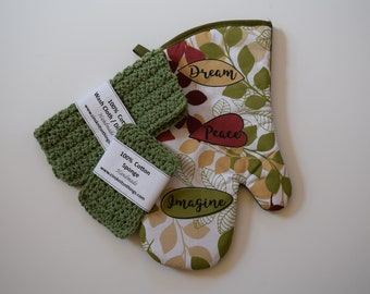 Dishcloth set - Dishcloth with Oven Mitt - Wash Cloth - 100% cotton dishcloth and sponge - Mother's Day Gift - Assorted colors