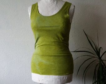 Organic yoga top moss green eco clothes tank herbal dyed boho shirt earthy hippy psy bohemian minimalist womens slow fashion clothes stretch