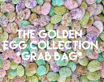 SALE Golden Egg Grab Bag, Gold Foil beads, pink green blue brown purple beads, oval beads, sale beads, clearance beads, easter eggs