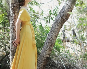 Bondi Beach Gold-Long Octopus Convertible Wrap Gown-Maxi Bridesmaid Dress~ Guilded, Vintage, Grecian