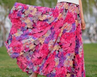 pink floral skirt,chiffon skirt,long summer skirt,chiffon maxi skirt,full skirt,long skirt,boho maxi skirt