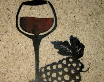 Wine Glass With Grapes Home Decor Wine Decor Vineyard Decor Wall Art