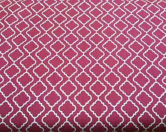 "Cotton Fabric with "" In the Beginning"" print, magenta"
