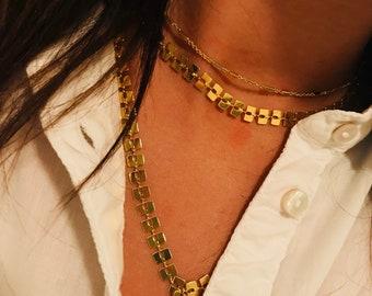 Rectange Multi layered necklace