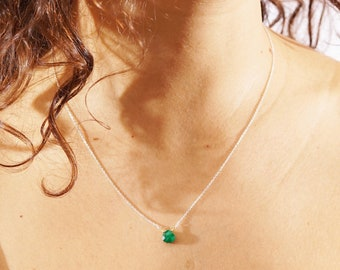 Genuine Emerald Necklace Sterling Silver, gold, rose gold 14K Drop Pendant Necklace Genuine Emerald May Birthstone Emerald jewelry