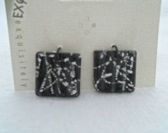 Pair of Dichroic Glass Square Charms, 20 mm x 20 mm x 4 mm (2117)