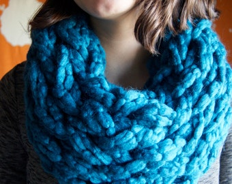 Teal Chunky Knit Infinity Scarf