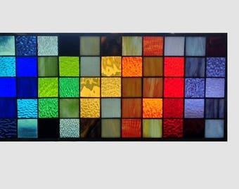 Stained glass window panel geometric rainbow squares stained glass panel window hanging modern abstract transom 0333 22 1/2 x 10 1/2