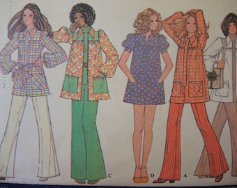 vintage 1970s McCalls sewing pattern 3461 misses smock  size 14