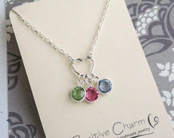 Family Birthstone Necklace, Family Necklace, Birthstone Heart Charm Necklace, Sterling Silver, Simple Necklace