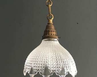 Vintage Decorative French Glass Pendant Light