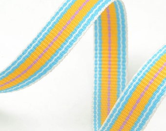 "10 Yards 3/8"" Grosgrain Stripe Ribbon Trim, Yellow and Light Blue, BS-5058"