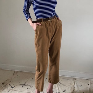 90s Corduroy High Waisted Chino Cropped Trousers Tobacco | S M L