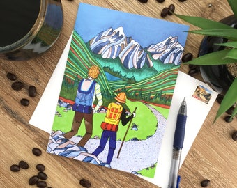 Hiking Card – Rocky Mountains – Blank Card – Envelope Included – Recycled Paper – Colourful – Art