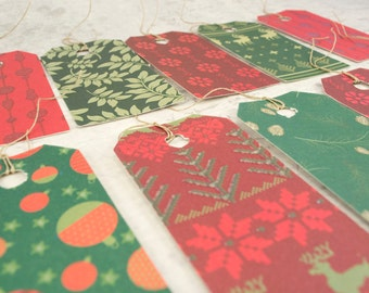 Christmas gift tags with strings dozen 12 with glitters