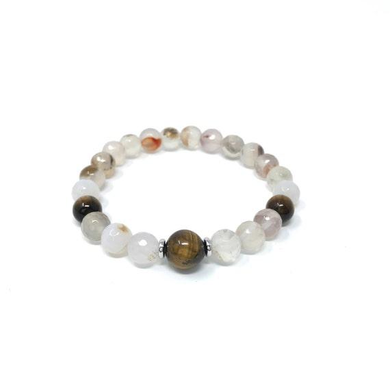 White Agate And Tiger Eye Bracelet, Natural Boho Chic Bracelet, Bracelet To Match Your Mala Beads, Yoga Bracelet, Tiger Eye Bracelet