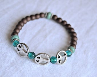 PEACE SIGN BRACELET Brown Matte Beads Turquoise and Teal Stretch Bracelet
