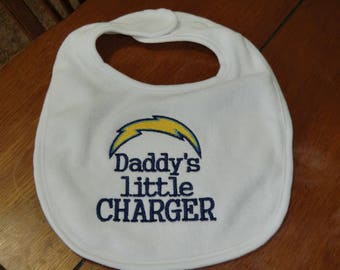 Embroidered Baby Bib - Daddy's Little Charger - Boy