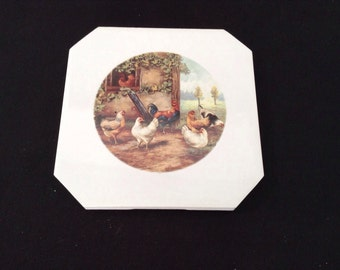 Ceramic Coasters With  Roaster Family  4 1/4 By 4 1/4